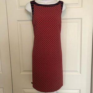 Ann Taylor Shift Dress Navy Red Chain Sleeveless